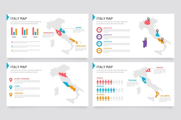 Italien karte infografik in flachem design