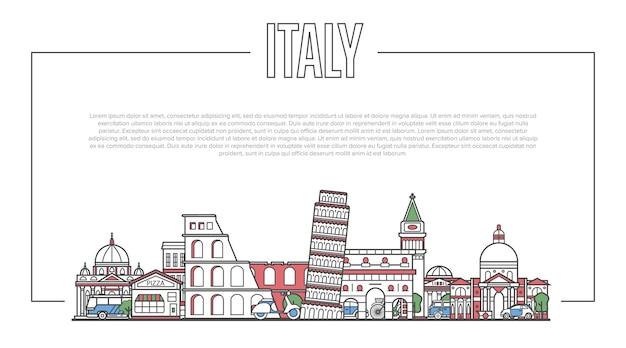Italien-marksteinpanorama in der linearen art