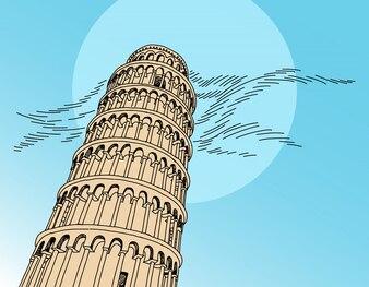 Italien Pisa Turm Handzeichnung Vektor