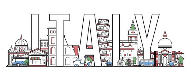 Italien-reisebeschriftung in der linearen art