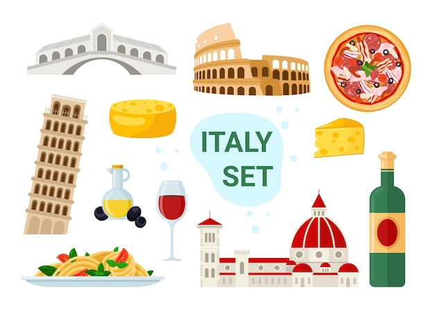 Italien-tourismus-illustrationssatz. cartoon berühmte italienische speisen- und getränkekarte mit pizza spaghetti