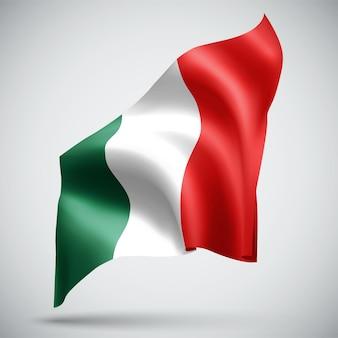 Italien, vektor-3d-flagge isoliert auf weißem hintergrund