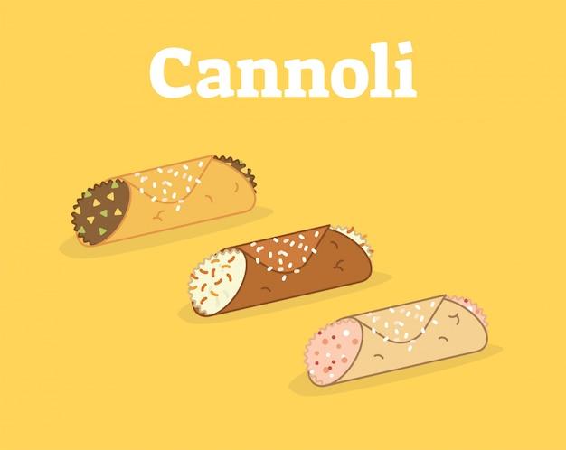Italienische cannoli siciliani-vektorillustration