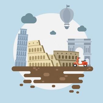 Italienische denkmäler hintergrund-design