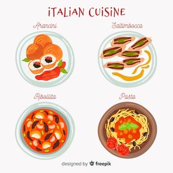 Italienische essensgerichte eingestellt