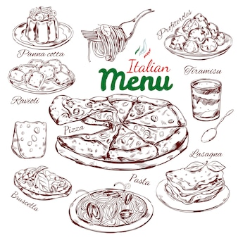 Italienische food sketch collection