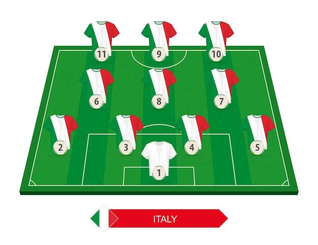 Italienische fußballmannschaft aufstellung auf fußballplatz für europäischen fußballwettbewerb