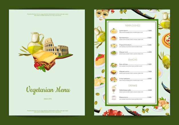 Italienische küche cafe oder restaurant menü illustration