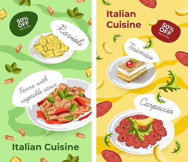 Italienische küche gerichte und desserts poster verkauf