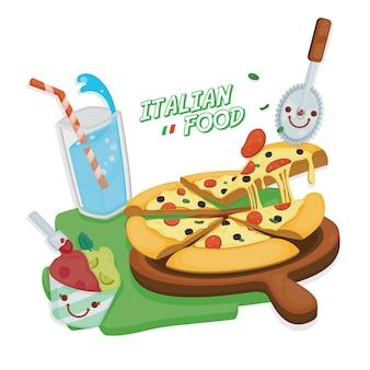 Italienische küche. pizza margarita mit italienischem soda und eiscreme.