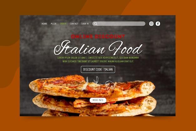 Italienische landingpage für lebensmittel