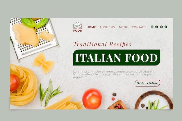 Italienische landingpage-vorlage für lebensmittel