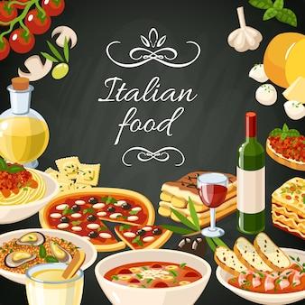 Italienische lebensmittel illustration