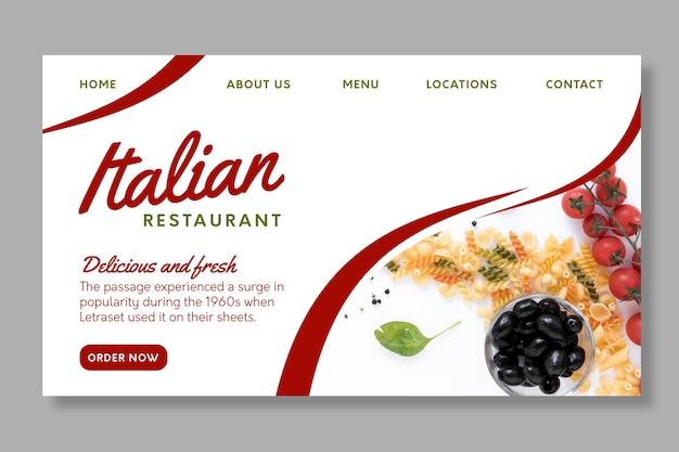 Italienische lebensmittel-landingpage-vorlage
