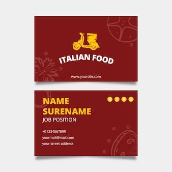 Italienische lebensmittel-visitenkartenschablone