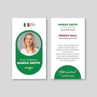 Italienische lebensmittelausweisschablone