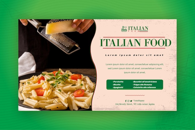 Italienische lebensmittelbanner-webschablone