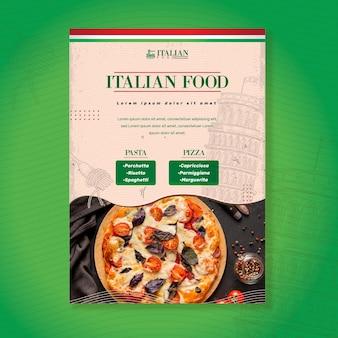 Italienische lebensmittelplakatdruckvorlage