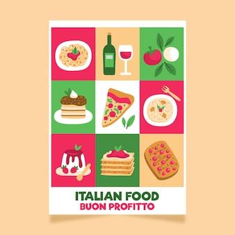 Italienische lebensmittelplakatschablone