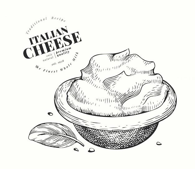 Italienische mascarpone-illustration. hand gezeichnete molkereiillustration. gravierter frischkäse. weinleselebensmittelillustration.