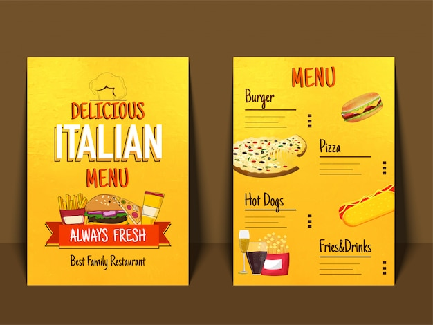 Italienische menü tischset lebensmittel restaurant broschüre