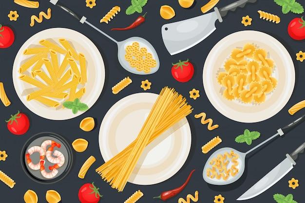 Italienische pasta lebensmittel, professionelle lebensmittelzubereitung haushaltsutensilien musterillustration. konzept mahlzeit messer.