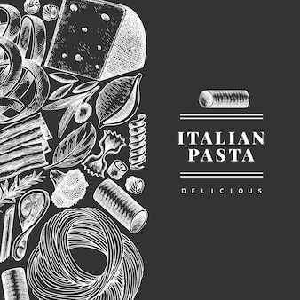 Italienische pasta mit ergänzungsentwurfsschablone. hand gezeichnete lebensmittelillustration auf kreidetafel. gravierter stil. vintage pasta verschiedene arten hintergrund.