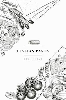 Italienische pasta mit ergänzungsentwurfsschablone. hand gezeichnete lebensmittelillustration. gravierter stil. vintage pasta verschiedene arten hintergrund.