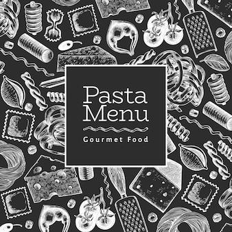 Italienische pasta mit ergänzungsschablone. hand gezeichnete lebensmittelillustration auf kreidetafel. gravierter stil.