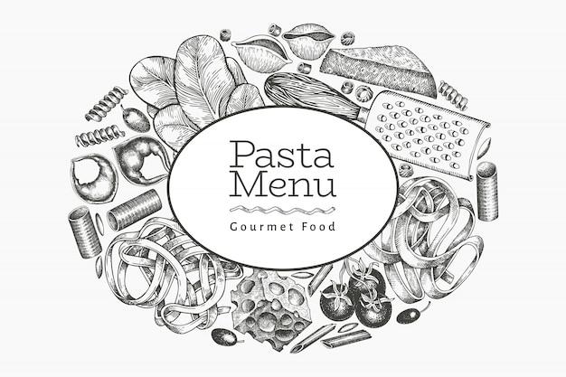 Italienische pasta mit ergänzungsschablone. hand gezeichnete lebensmittelillustration. gravierter stil. vintage pasta verschiedene arten hintergrund.