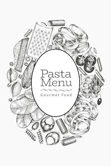 Italienische pasta mit ergänzungsschablone. hand gezeichnete lebensmittelillustration. gravierter stil.