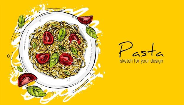 Italienische pasta mit tomaten und basilikum. handzeichnungsskizze.