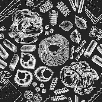 Italienische pasta nahtlose muster. hand gezeichnete vektorlebensmittelillustration auf kreidebrett. gravierter stil. retro nudeln