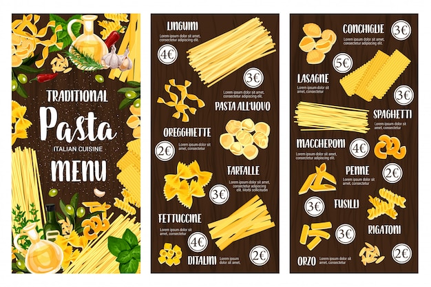 Italienische pasta-speisekarte. spaghetti, makkaroni, kräuter