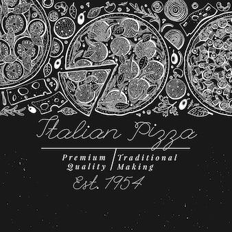 Italienische pizza draufsicht. hand gezeichnete weinleseillustrationen auf kreidetafel.