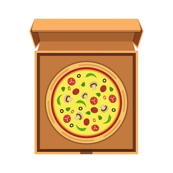 Italienische pizza in der geöffneten pappschachtel
