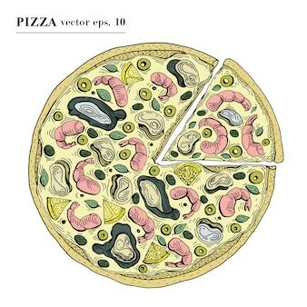 Italienische pizza mit gezeichneter vektorillustration der meeresfrüchte hand. kann für pizzeria, café, geschäft, restaurant verwendet werden.