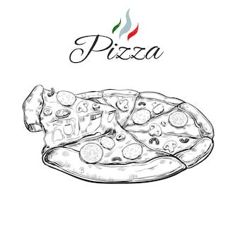 Italienische pizza vintage handgezeichnete illustration.