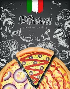 Italienische pizzaanzeigen oder -menü mit reichem belagsteig der illustration auf graviertem artkreide kritzeln.