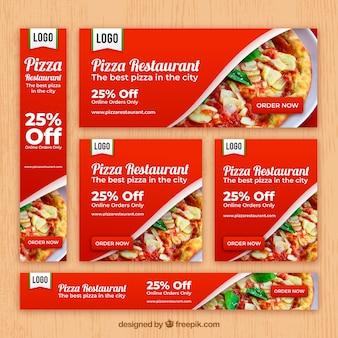 Italienische restaurant web-banner-sammlung mit foto