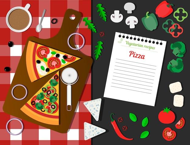 Italienische vegetarische pizza ein blatt mit einem rezept und zutaten draufsicht auf einen tisch mit