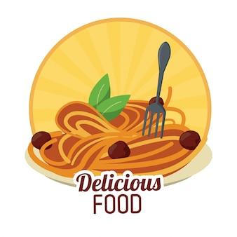 Italienischer aufkleber der köstlichen nahrungsmittelnudelnfleischklöschen
