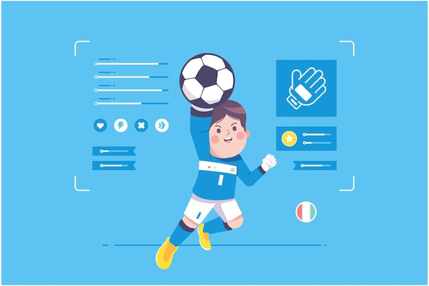 Italienischer fußballspieler süßes charakterdesign