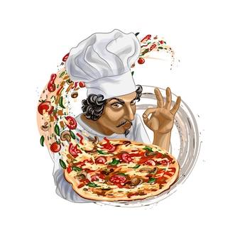 Italienischer koch, der pizza hält. vektor realistische illustration von farben
