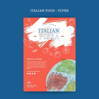 Italienischer lebensmittelflieger vertikal
