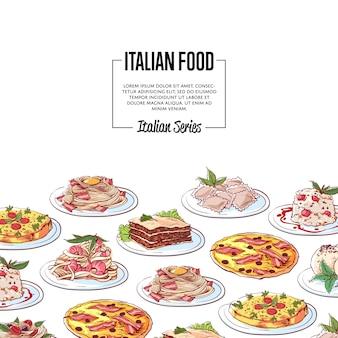 Italienischer lebensmittelhintergrund mit nationalen küchetellern