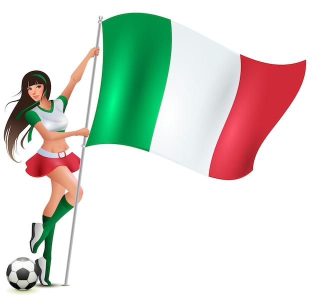 Italienischer schönheitsfußballfan, der flagge hält. isoliert