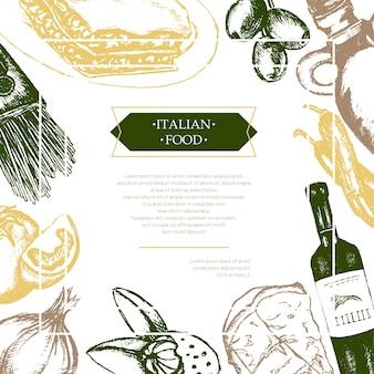 Italienisches essen - dreifarbiger vektor handgezeichneter zusammengesetzter flyer mit exemplar. realistische oliven-, öl-, knoblauch-, essig-, pasta-, tomaten-, scharfe paprika-, käse-, mandel-lasagne