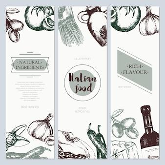Italienisches essen - dreiteiliger dreifarbiger vektor handgezeichneter quadratischer flyer mit exemplar. realistische oliven, öl, knoblauch, essig, nudeln, tomaten, scharfer pfeffer, käse, mandeln, lasagne