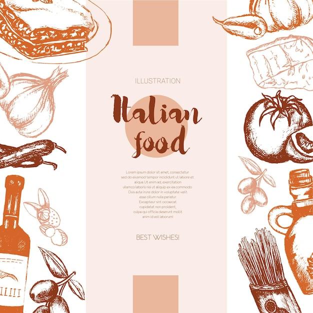 Italienisches essen - farbvektor handgezeichnete zusammengesetzte banner mit exemplar. realistische oliven-, öl-, knoblauch-, essig-, pasta-, tomaten-, scharfe paprika-, käse-mandel-lasagne